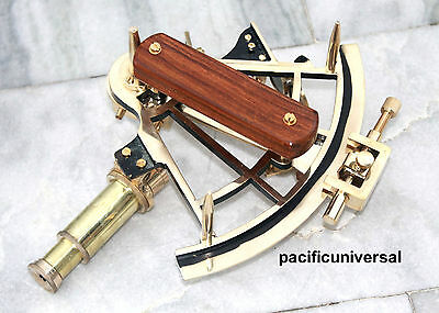 "Handmade Shiny Brass Working Sextant 8"" Royal Navy Reproduction Astrolabe Gift ."