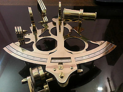 "8"" Handmade Shiny Brass Sextant Marine Nautical Royal Navy Vintage Ship Sextant."