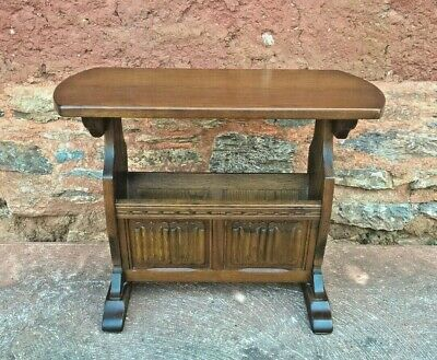 Old Charm Magazine Rack Table / Carved Oak Table (Delivery Quote 👍 )