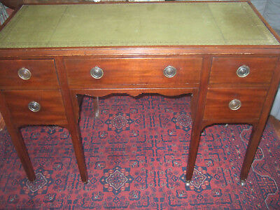 Large English Antique Edwardian Mahogany Desk With Inset Leather Top