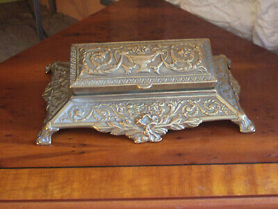 UNUSUAL LATE 19th CENTURY (1850-1897) VICTORIAN ENGLISH CAST BRASS STAMP BOX