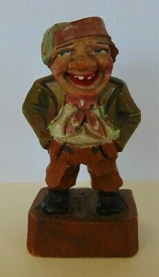Vintage Hand Carved & Painted German Black Forest Bavarian Jolly Fat Man 10cm