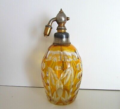 Antique French Crystal Glass Amber Color Atomizer Spray Vanity Perfume Bottle