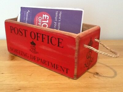 Retro Post Office Wooden Crate.Hallway Box Letter Storage Box with Rope Handles.