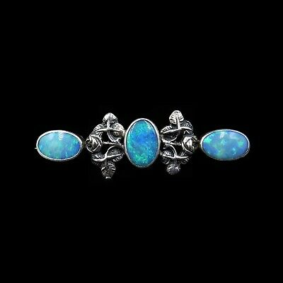 Antique Arts and Crafts Natural Black Opal Sterling Silver Bar Brooch Pin c.1900