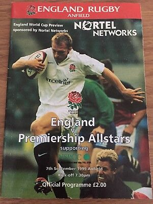 England Vs Premiership Allstars Rugby Anfield Programme 07/09/1999