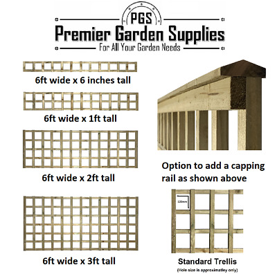 Premier Square Trellis Garden Lattice Climbing Plant Various Sizes & Colours 1-3