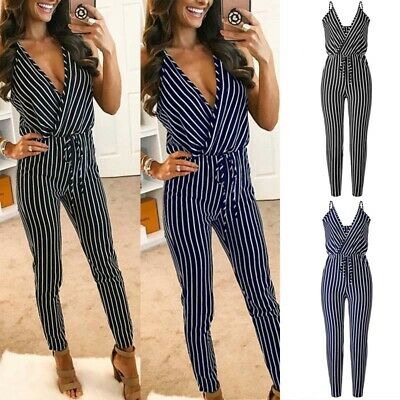 Womens Striped V Neck Plunge Sleeveless Jumpsuit Pencil Pants Ladies OL Playsuit