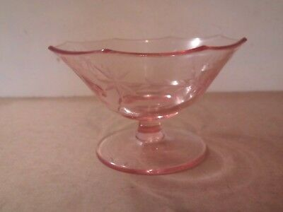 Pink Depression Glass Pedestal Candy Dish - Etched
