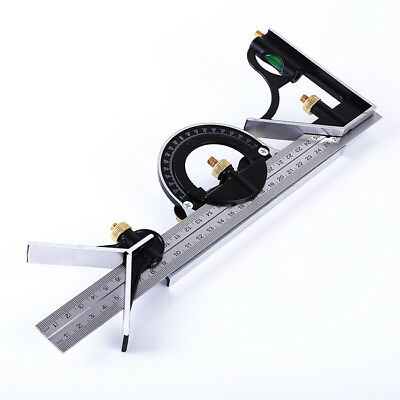 Carpenter Combination Square Angle Ruler Stainless Steel Protractor Tool ONE