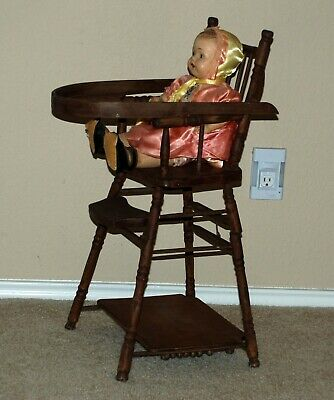 Antique Late 1800s/Early 1900s Convertible Wood Baby Doll High Chair & Table