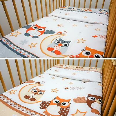 2 Piece Kids Cotton Duvet Cover Pillowcase for Baby Crib/Cot/Junior Bed - Owls
