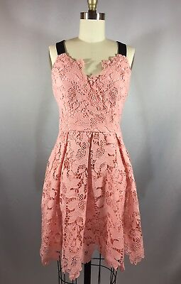 Adeline Rae Adjustable Strap Pleated Lace Fit & Flare Dress Small Plush Pink