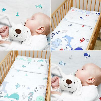 2 Pc Baby Kids Cotton Duvet Cover Pillowcase all Crib Cot Bed sizes - Sea Life