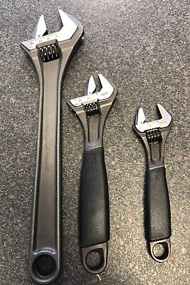 """BAHCO 3 Pieces  6"""" 9070 8"""" 9071 12"""" 8073 Adjustable Wrench Spanners Inch Inch's"""