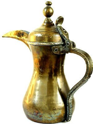 Hand made vintage brass Bedouin/ Arab Dallah, traditional coffee pot, stamped