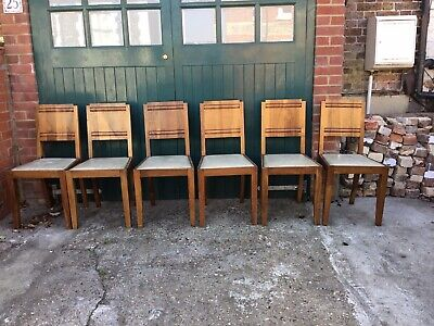 Fantastic Genuine Set Of Six Vintage Art Deco Walnut Dining Chairs.
