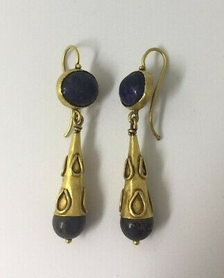 Ancient Roman 20kt+ Gold Torpedo earrings with Lapis Lazuli & Dropled Design