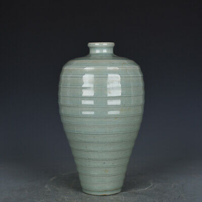 "10"" Chinese old Porcelain Song Dynasty longquan kiln Celadon glaze plum vase"
