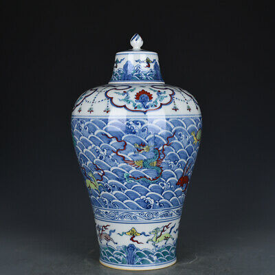 """14"""" Chinese old Porcelain Ming chenghua mark doucai Sea monster cover plum vase"""