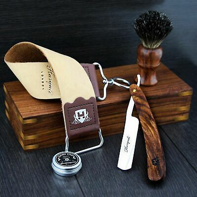 BARBER SALON STRAIGHT CUT THROAT SHAVING RAZOR Gift Set VINTAGE 5 Pc Luxury Kit