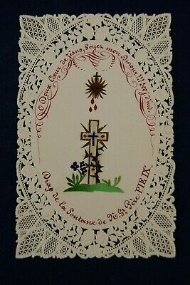 † Pope Pius Ix Cassock Relic Canivet Sacred Heart Holy Card Hand Made France †