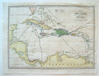 Antique West Indies Map; Columbus Voyages: Washington Irving: Hand Colored: 1828