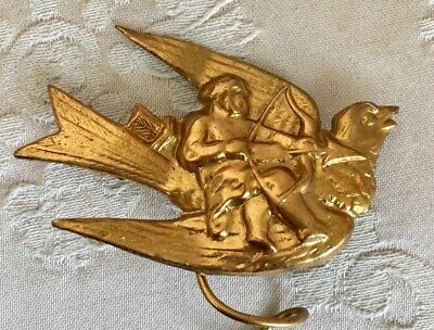 Rare Antique 19thC French Gilt Pressed Metal Dove In Flight w Cupid for Projects