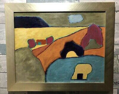 Vintage Lynn Hudy Modernist Abstract Oil On Camvas Painting Southwest Adobes