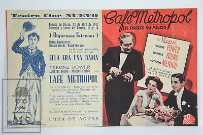 1937 Café Metropole Movie Advert Leaflet - Tyrone Power - Charlot Advertisment