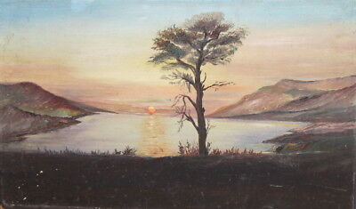 Sunset lake landscape vintage oil painting