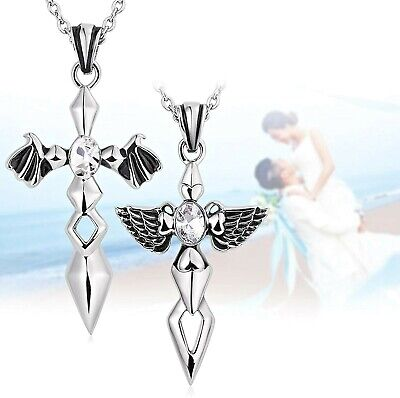 Aeici His And Hers Couple Neckalces Stainless Steel Cross Angel And Devil Wings