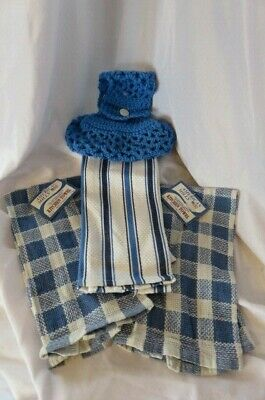 NWT Hanging Kitchen Dish Towels W/Crochet Top Holder Country Blue & White- Lot 3