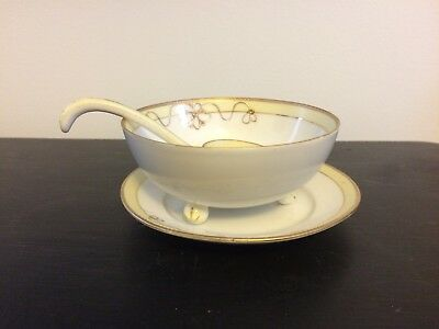 Hand Painted Noritake Footed Mayonnaise Bowl with Ladle and Underplate