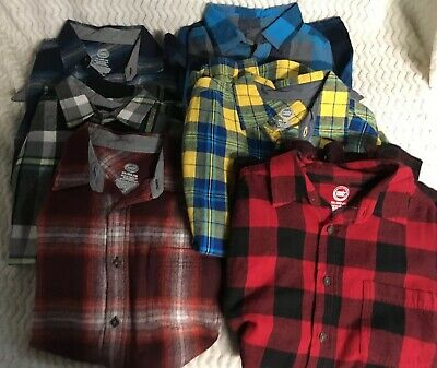f3404c89f Lot of 6 Boys Flannel Shirt Red Long Sleeve By Wonder Nation Size XL 14-