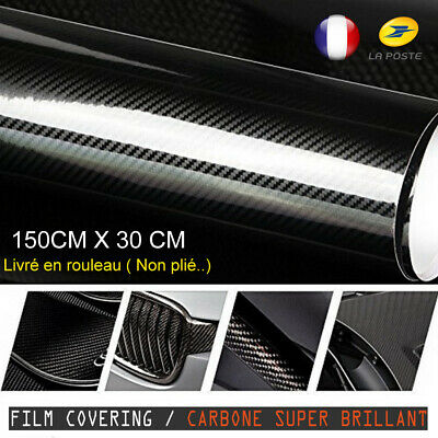 Film Carbone Brillant 5D Covering Thermoformable Pro Wrap Auto Moto Vinyle
