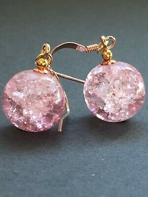 Art Deco style vintage pink crackle glass 14ct gold filled earrings