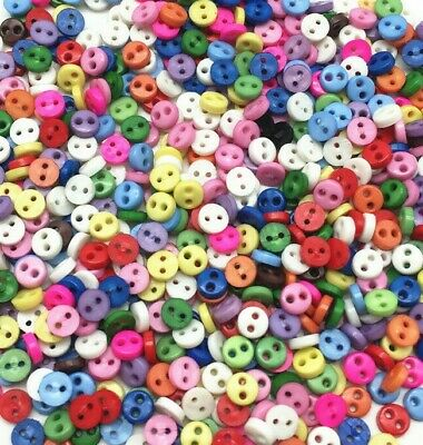 300 4mm ROUND TINY SMALL RESIN BUTTONS MIXED COLOURS CRAFT  SCRAPBOOK SEWING