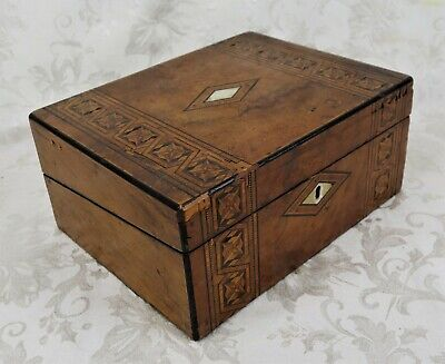 Antique 19th Century Inlaid Wood Travel Lap Desk Mother of Pearl Inlay