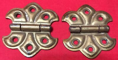 "Pair Antique Brass Color Stamped Steel Flush Mount Butterfly Hinges 2"" x 2 1/4"""