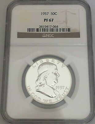 1957 US Franklin Silver Half Dollar 50c  ~ NGC Certified PF 67 (064)