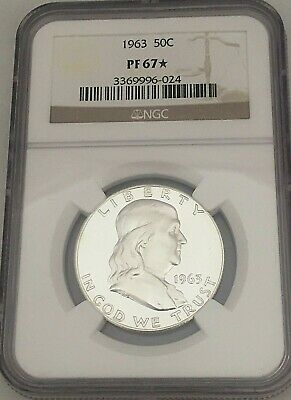 "1963 Us Franklin Silver Proof Half Dollar 50c ~  Certified NGC PF 67 ""Star"""