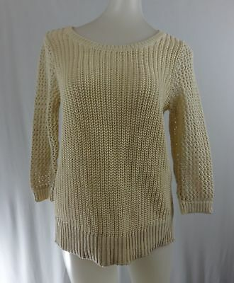 da85bd9f96e ANN TAYLOR LOFT S Petite Off White Loose Cable Knit 3 4 Sleeve Sweater
