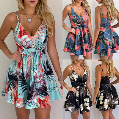 Backless Summer Boho Strappy V-Neck Floral Mini Dress Holiday Beach Sundress