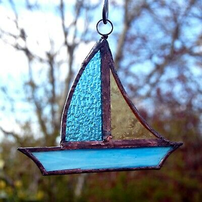 Astons Stained Glass Suncatcher Yacht Sail Boat Blue Amber Garden or Indoor