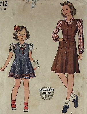 1940s Simplicity Vintage Sewing Pattern 3712 Girl Jumper Size See Note