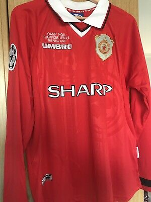 Manchester United 1998/99 UCL FINAL Small SHIRT SOLSKJAER RETRO Fast Delivery