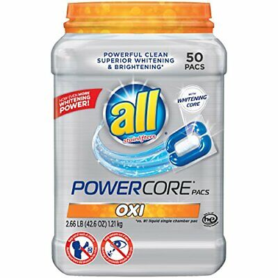 Powercore Oxi Pacs - Superior Clothes Whitening Laundry Detergent (50 Pack)