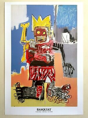 "Jean Michel Basquiat Rare Lithograph Print Lrg Pop Art Exhbt Poster ""Crown"" 1982"