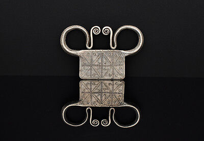 Antique Hmong (Miao) tribal art, solid silver soul lock pendant, Laos, Burma
